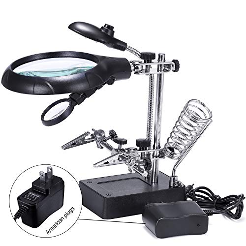 Basuwell 2.5X 7.5X 10X LED Light Helping Hands Magnifier Glass Stand with Alligator Clips, Adjustable Magnifying Glass for Reading, Repair, Crafts, Sewing