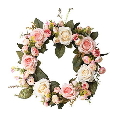 Savlot kunstmatige slinger, rozen, bloemen, kunstmatige rotanguirlande met groene bladeren, voor thuis, hangend Roze