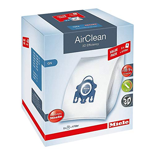 Miele AirClean 3D Efficiency Dust Bag, Type GN, XL Value Pack, 8 Bags and 4 Filters