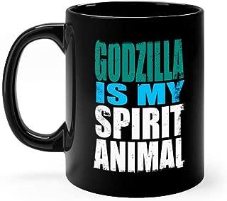 Godzilla is My Spirit Animal - Godzilla Mug 11oz Black Ceramic Funny Unique Coffee Tea Mug Novelty Gift For Men Women