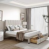 Queen Size Platform Bed with Storage Drawer, Velvet Upholstered Platform Bed Frame with Headboard, No Spring Box Need, Beige