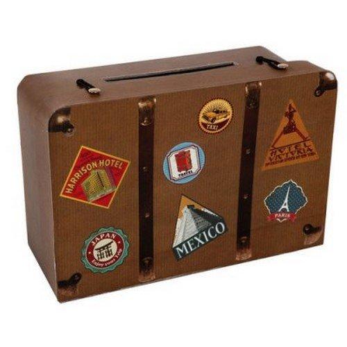 Au Plaisir des Yeux - Salvadanaio a forma di valigia, motivo 'Viaggio'