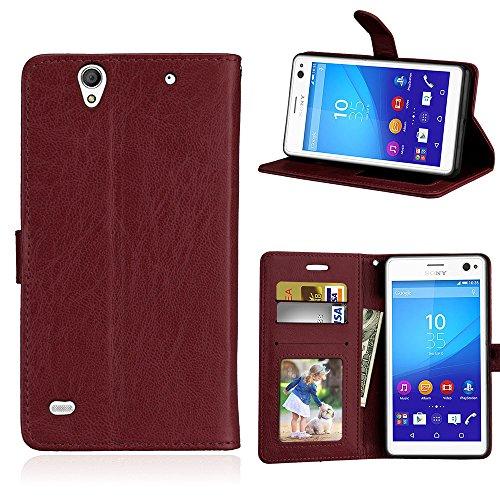 Fatcatparadise Kompatibel mit Sony Xperia C4 Hülle + Bildschirmschutz, Flip Wallet Hülle mit Kartenhalter & Magnetverschluss Halterung PU Leder Hülle handyhülle (Braun)