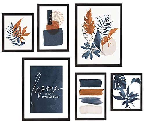 ArtbyHannah 6 Pieces Framed Botanical Gallery Wall Frames Kit with Tropical Plants Decorative Art Prints for Wall Art Decor or Home Decoration,Multi Size:11x14,8x12,8x10 Inch with Black Picture Frames