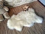 Tappeto originale in spessa lana di pecora, colore: Crema, White, Lamb 110-120