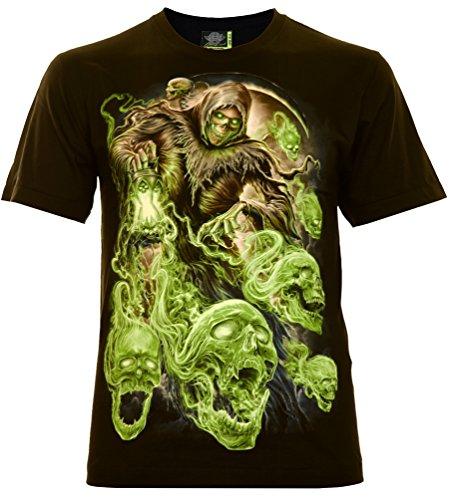Ghost Skull ́s Herren T-Shirt Schwarz Gr. 3XL Glow in The Dark