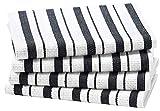 COTTON CRAFT - 4 Pack - Basket Weave Kitchen Towels - Black - 100% Cotton - Oversized 20x30 - Modern...