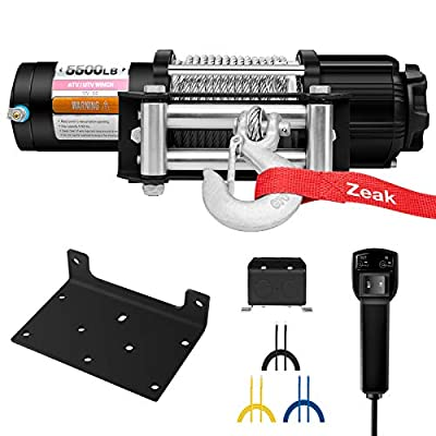 ZEAK Advanced 5500 lb. Electric Winch Off Road Automatic Powersports Winch, ATV Utility, Gavanized Steel Rope, with Mount, Remote