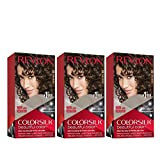Revlon Colorsilk Beautiful Color, Permanent Hair Dye with Keratin, 100% Gray Coverage, Ammonia Free, 30 Dark Brown (Pack of 3)