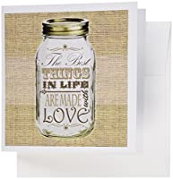 Janna Salak Designs素朴なデザイン–Mason Jar on黄麻布プリントブラウン–The Best Things In Life Are Made with Love–Gifts for the Cook–グリーティングカード Set of 6 Greeting Cards