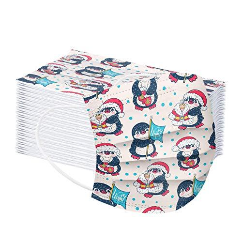 Amuse-MIUMIU 50 Stück Einweg 3 lagig Mund-Nasen-Schutz für Kinder, Weihnachten Pinguin Bedruckte Atmungsaktive Face Cover Shield Mund Bedeckun Bandana Halstuch Schals für Unisex Jungen und Mädchen