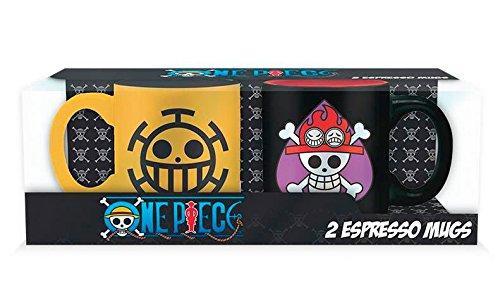 One Piece Ace & Trafalgar - Juego de tazas pequeñas (cerámica, capacidad: aprox. 110 ml..