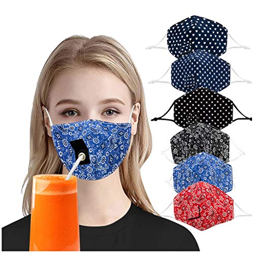 YKA Adult Children Reusable Cotton Protective Face Protector with Hole for Straw Drinking