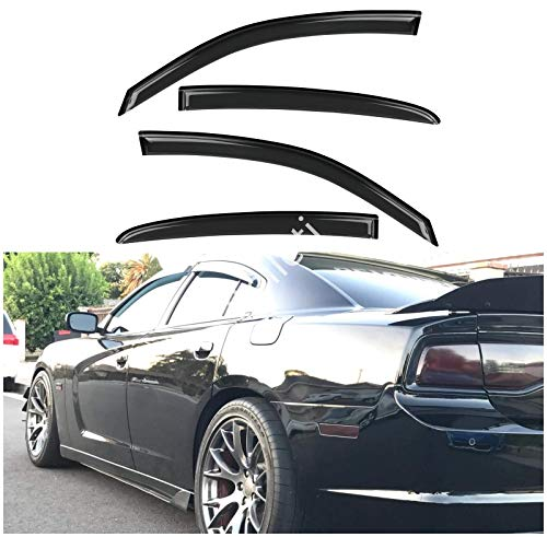 itelleti 4pcs Outside Mount Dark Smoke Sun/Rain Guard Front+Rear Tape-On Auto Window Visors Compatible With 11-20 Charger