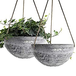 Gray hanging planter baskets