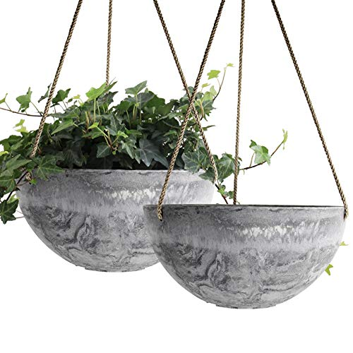 Flower Plant 10 inch Pots Marble Pattern Hanging Planter