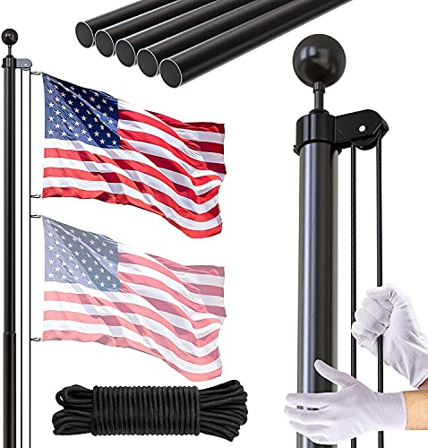 FFILY Flag Pole Kit, 25 FT Extra Thick Heavy Duty Aluminum Flagpole, Outsides Inground Flag Poles with 3x5 American Flag for Yard, Residential or Commercial, Black