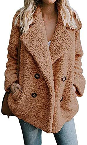 DaiWeiDress Mujer Abrigo Mullido Piel sintética Chaqueta de Oso de Peluche (Camel, XL)