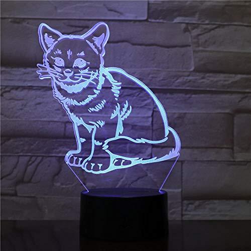 JJIEZZ Luz Nocturna 3D Gato Lindo 7 Colores Lámpara de Mesa Regalo Animal Lámpara 3D Regalo Novedad Luz Nocturna-Amarillo_Control táctil USB