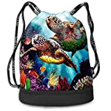 OPLKJ Sea Turtles Diamond Painting Bolso de mochila con cordón impreso, Sport Gym Sackpack Bundle Pocket Backpack Travel Storage Bag