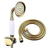 CIENCIA Alcachofa de ducha de latón de alta presión, 1/2 pulgadas, color dorado, con manguera y soporte de ducha BS126F