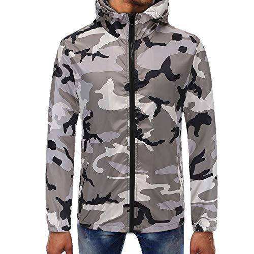 OSYARD Herren Camouflage Kapuzenpullover Plus Größe Hoodie, Camouflage Zipper Pullover Langarm mit Kapuze Sweatshirt Jacke Kapuzenjacke Outwear (XL, Weiß)
