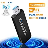 Tokenhigh Clé WiFi, USB WiFi Adaptateur, Clé USB WiFi Dongle AC 1200Mbps Dual Band 2.4 G/5.8 G Mini Wireless Adaptateur...