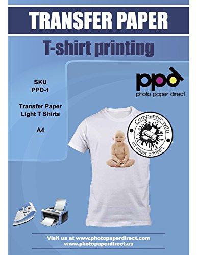 PPD - Papier Transfert à repasser sur T-shirts / Textiles Blancs ou Clairs, A4 x 50 Feuilles, Impression Jet d'Encre, PPD-1-50