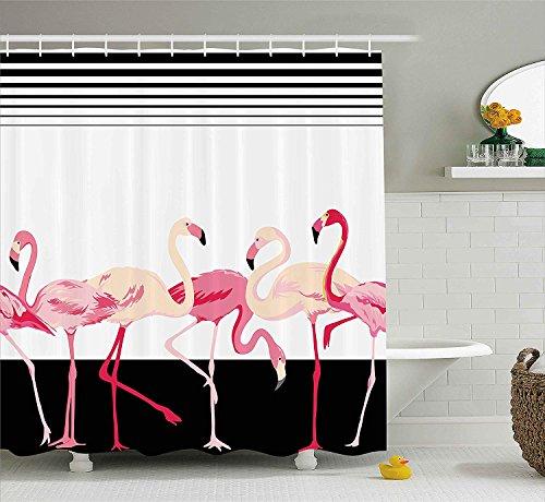 Nyngei Retro Decor Shower Curtain di Pink Flamingo Birds Sfondo con Strisce Love Romance Icons Shabby Chic Graphic Fabric Bathroom Decor con ExtraBlack