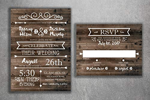 Country Wedding Invitations Set Printed - Rustic Wedding Invitations, Burlap, Kraft, Wood, Affordable, Vintage, Outside, Cheap, Southern