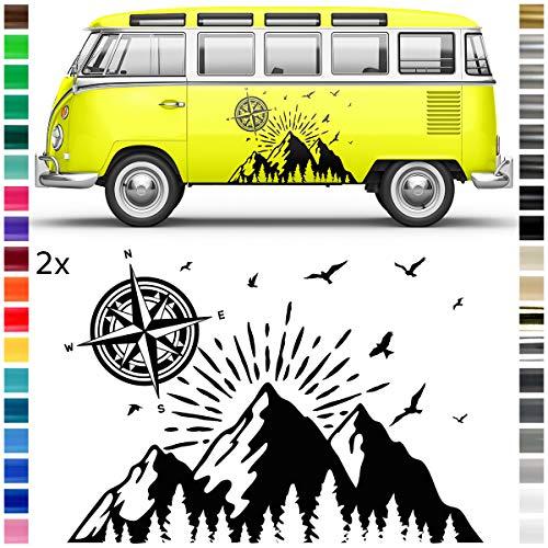 Auto-Dress® Auto & Wohnwagen Aufkleber, Dekor, Sticker - Natur Kompass Landschaft Berge Wald (Schwarz-Glanz)