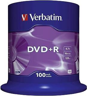 Verbatim DVD+R   4.7 GB, 16 fache Brenngeschwindigkeit mit Langer Lebensdauer und Kratzschutz, 100er Pack Spindel, mattsilber