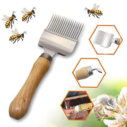 HSKB Bienen zubehör,Bienenwaben Honig EdelstahlSchaber Imkerei Zubehör Bienenzucht Werkzeug Holzgriff Heavy Duty Schön für Imker
