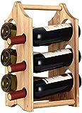 Étagère à vin rustique en bois pour 6 bouteilles de vin, support de bouteilles de vin sur pied, pour bar, maison, cuisine