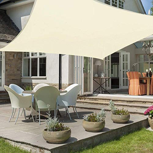 HEYOMART 3m x 3m Sun Shade Sail Rectangle Water Resistant Outdoor Garden Patio Party Sunscreen Awning Canopy 98% UV Block With Free Rope, Cream White