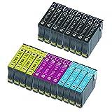 Caidi 16XL - Cartucho de tinta para Epson 16 XL con Epson Workforce WF-2010 WF-2510 WF-2520 WF-2530 WF-2540 WF-2630 WF-2650 WF-2660 WF-2750 WF-2760 (8 Negro, 4 cian, 4 magenta, 4 amarillo)