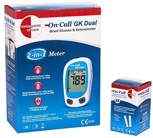 Swiss Point Of Care GK Dual Ketone Pack | 1 x GK Dual Messgerät (mg/dl) und 25 Ketone Teststreifen im praktischen Set | zur genauen Messung der Ketonwerte | Lanzetten und Stechhilfe NICHT enthalten