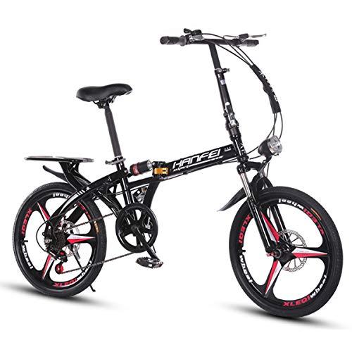 AMEA 16/20 Zoll Damen Faltrad Klapprad City Bike Mit Vorderlampe, Erwachsene Faltfahrrad, Retro Style Citybikes Faltbare Trekking-Fahrrad-Licht-Fahrrad 6 Gang,Schwarz,20 Inch