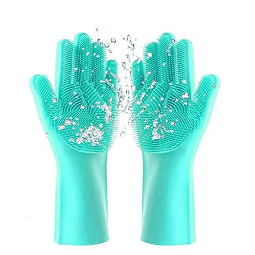 Silikon Handschuhe Schwamm BPA-FREI, LFGB-STANDARD Kitchen Gloves Silikonhandschuhe Waschhandschuhe Felgenreinigung Autowäsche Haushaltsreinigung Spülhandschuhe Küche Bad Putzhandschuhe Wash scrubber