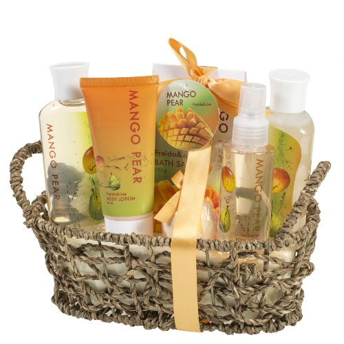 Aromatic Autumn Mango-Pear Home Spa Experience: Women's Fall Season Set Features Shower Gel, Bubble Bath, Bath Salt, Body Lotion, Body Spray, and Bath...