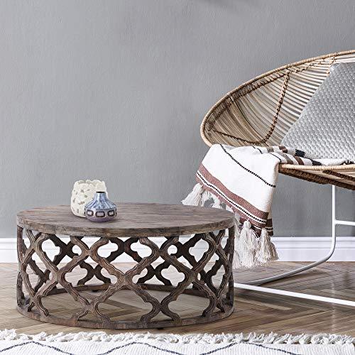 WOMO-DESIGN Orientalischer Couchtisch Lisbon Ø75x35 cm rund, Dunkelbraun, Massivholz Mangoholz handgeschnitzt, Indische Design, Beistelltisch Sofatisch Wohnzimmertisch Loungetisch Tisch für Wohnzimmer