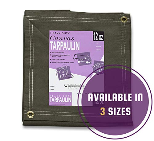 Heavy Duty Waterproof Canvas 8 x 10 Tarp from Chicago Canvas & Supply