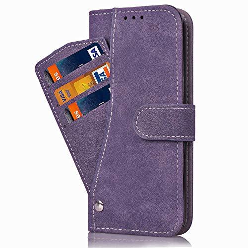 Asuwish Nokia 6.1 Hülle,Leder Lederhüllen klappbar Schutzhülle Wallet Hülle Mit Kartenfach Ständer Stand Dünn Stoßfest HardWallet Hülle Panzerglas + Handyhülle für Nokia 6.1 Lila