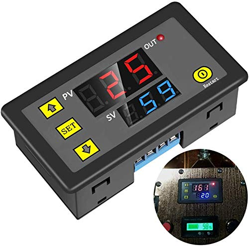 Timer Relay,Icstation DC 12V 10A Programmable Digital Time Cycle Delay Switch Module 1500W ON-Off Control 0-999 Second Min Hour LED Display