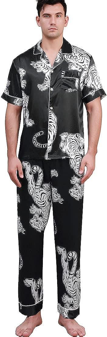 COSOSA Mens Short Sleeve Satin Pajamas Set With Pants Tiger Printed Two Piece Button Down Sleepwear