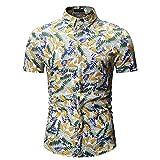 Camisas Casuales de los Hombres, Camisas Florales Botón de Manga Corta Abajo de la Playa Camisas, colocación de Moda,Amarillo,M