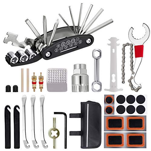 Fahrrad Multitools, 16 in 1 Fahrrad Reparatur Werkzeug Set, 22Pcs Fahrradflickzeug Reparaturset Multifunktionswerkzeug, Fahrrad Reparatur Zubehör mit Reifenheber Reifenpatch, für Männer Frauen