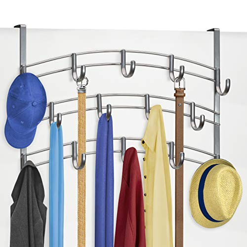 Lynk Door Hook Rack Shirt, Coat, Scarf, Belt, Hat, Jewelry Hanger-14 Organizer, Platinum