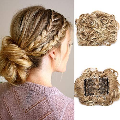 SEGO Haarteil Dutt Combs Hair Extensions Haarknoten Zopf Pferdeschwanz Haargummi Hochsteckfrisuren Gewellt Kaffee Braun bis Blond Bleichen 27T613