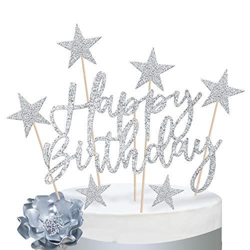 iZoeL Tortendeko Rosegold 2set Happy Birthday 20pcs Sterne Cake Topper Kuchendeko Rosa Gold Geburtstag Dekoration (Silber)